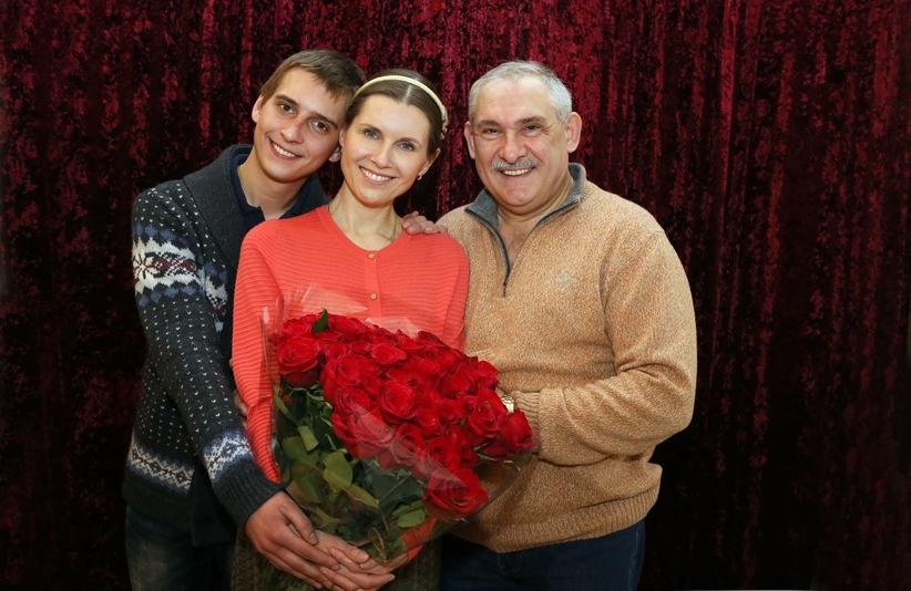 с сыном и мужем